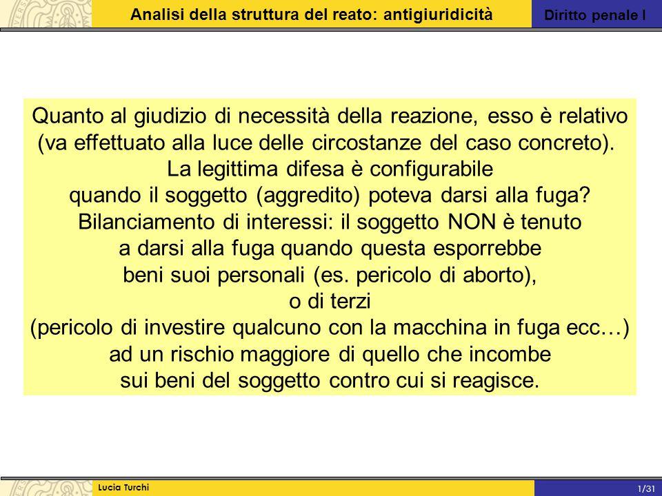 Diritto penale I Analisi della struttura del reato: antigiuridicità Lucia Turchi 1/31 Quanto al giudizio di necessità della reazione, esso è relativo