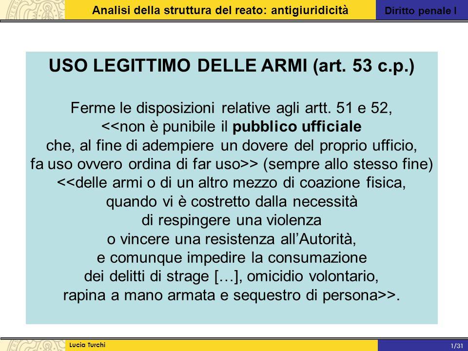 Diritto penale I Analisi della struttura del reato: antigiuridicità Lucia Turchi 1/31 USO LEGITTIMO DELLE ARMI (art. 53 c.p.) Ferme le disposizioni re