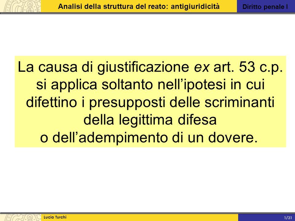 Diritto penale I Analisi della struttura del reato: antigiuridicità Lucia Turchi 1/31 La causa di giustificazione ex art. 53 c.p. si applica soltanto