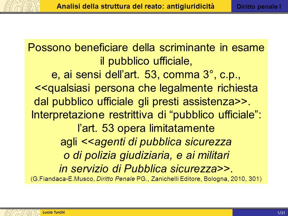 Diritto penale I Analisi della struttura del reato: antigiuridicità Lucia Turchi 1/31 Possono beneficiare della scriminante in esame il pubblico uffic