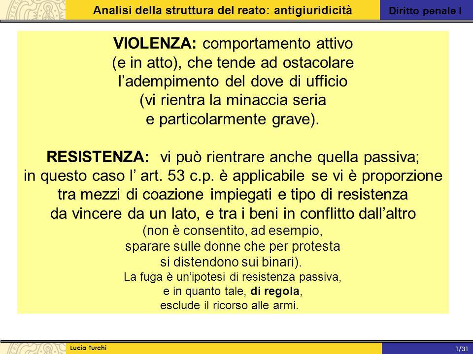 Diritto penale I Analisi della struttura del reato: antigiuridicità Lucia Turchi 1/31 VIOLENZA: comportamento attivo (e in atto), che tende ad ostacol