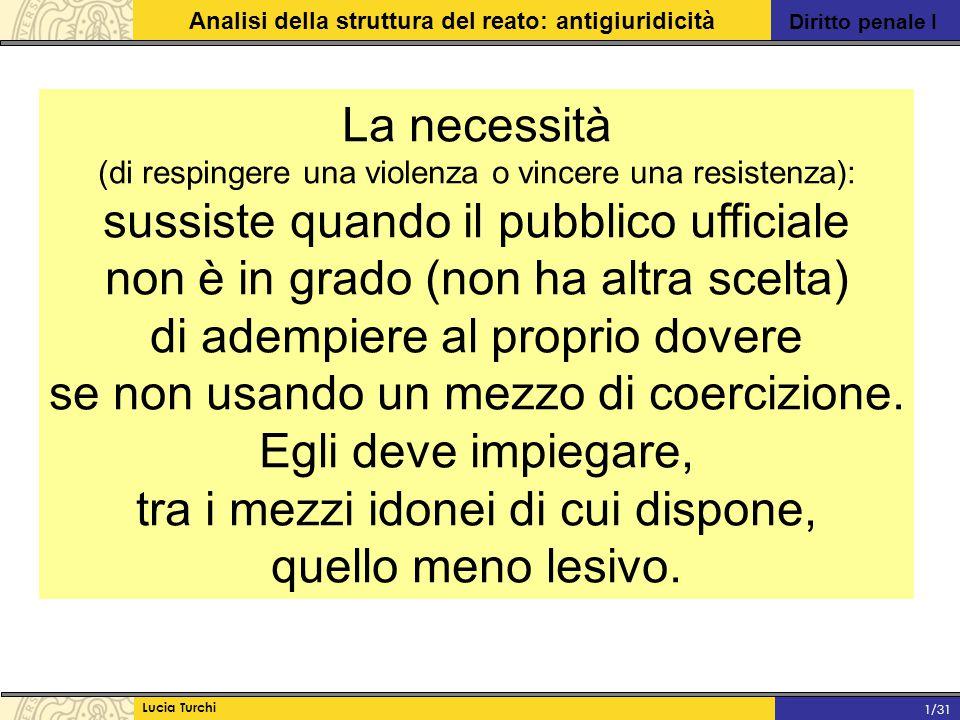 Diritto penale I Analisi della struttura del reato: antigiuridicità Lucia Turchi 1/31 La necessità (di respingere una violenza o vincere una resistenz
