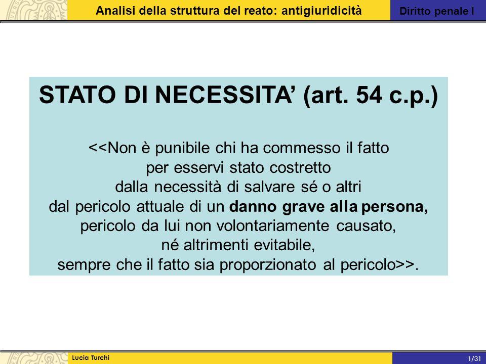 Diritto penale I Analisi della struttura del reato: antigiuridicità Lucia Turchi 1/31 STATO DI NECESSITA' (art. 54 c.p.) <<Non è punibile chi ha comme