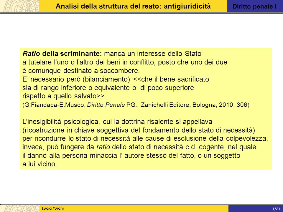 Diritto penale I Analisi della struttura del reato: antigiuridicità Lucia Turchi 1/31 Ratio della scriminante: manca un interesse dello Stato a tutela