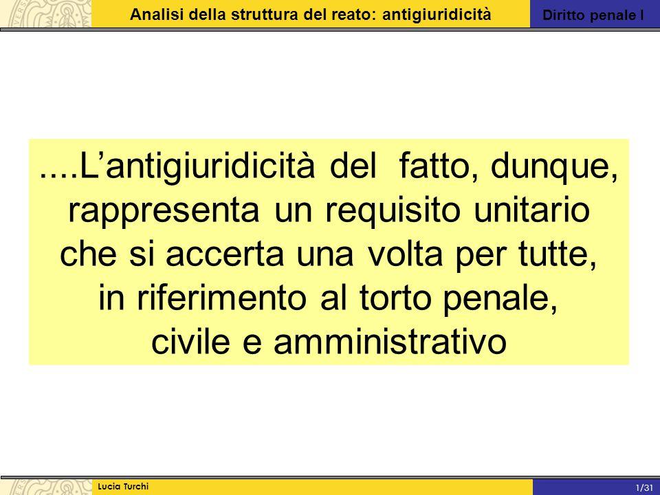 Diritto penale I Analisi della struttura del reato: antigiuridicità Lucia Turchi 1/31 MODELLO MONISTICO: tutte le scriminanti vanno ricondotte ad uno stesso principio, individuato, volta per volta, nel criterio del mezzo adeguato al raggiungimento di uno scopo (che l'ordinamento giuridico approva), della > (G.Fiandaca-E.Musco, Diritto Penale PG., Zanichelli Editore, Bologna, 2010, 257) ecc….