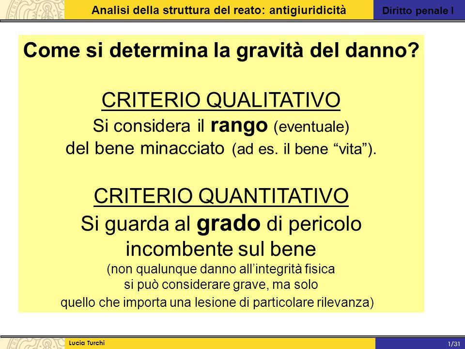 Diritto penale I Analisi della struttura del reato: antigiuridicità Lucia Turchi 1/31 Come si determina la gravità del danno? CRITERIO QUALITATIVO Si