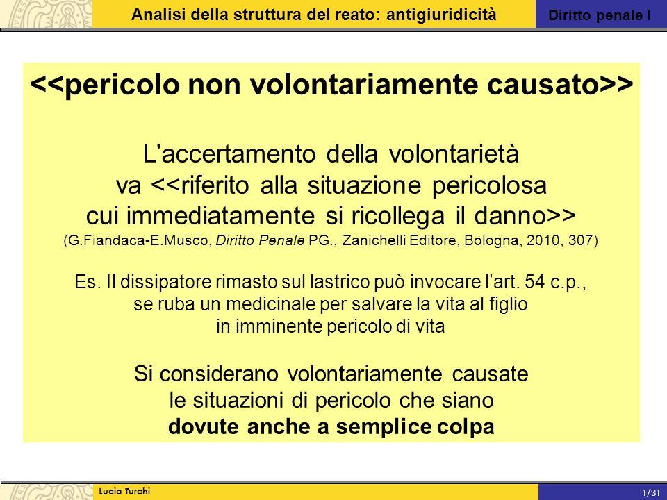 Diritto penale I Analisi della struttura del reato: antigiuridicità Lucia Turchi 1/31 > L'accertamento della volontarietà va <<riferito alla situazion
