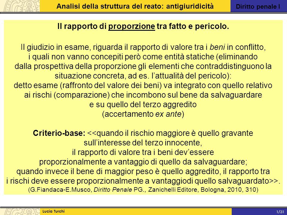Diritto penale I Analisi della struttura del reato: antigiuridicità Lucia Turchi 1/31 Il rapporto di proporzione tra fatto e pericolo. Il giudizio in