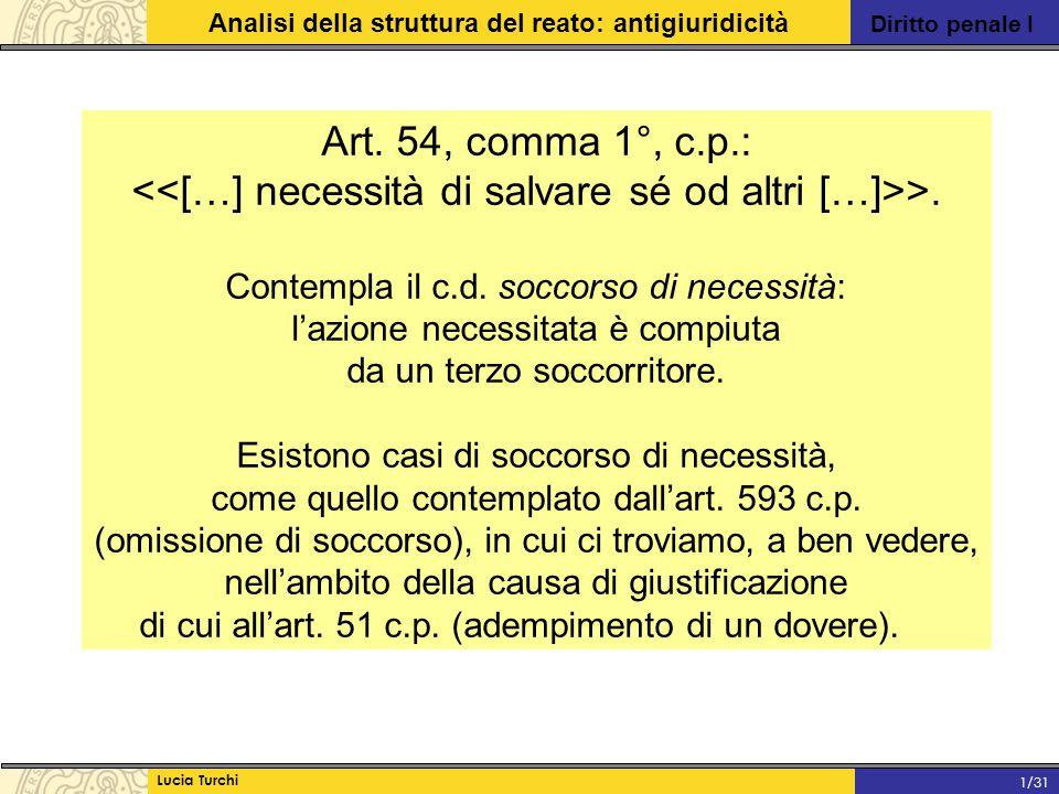 Diritto penale I Analisi della struttura del reato: antigiuridicità Lucia Turchi 1/31 Art. 54, comma 1°, c.p.: >. Contempla il c.d. soccorso di necess