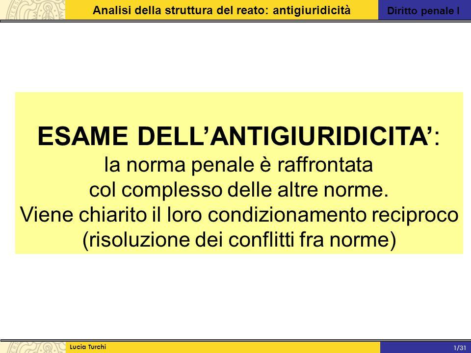 Diritto penale I Analisi della struttura del reato: antigiuridicità Lucia Turchi 1/31 Detto esame concerne la verifica che il fatto tipico non è coperto da una CAUSA DI GIUSTIFICAZIONE