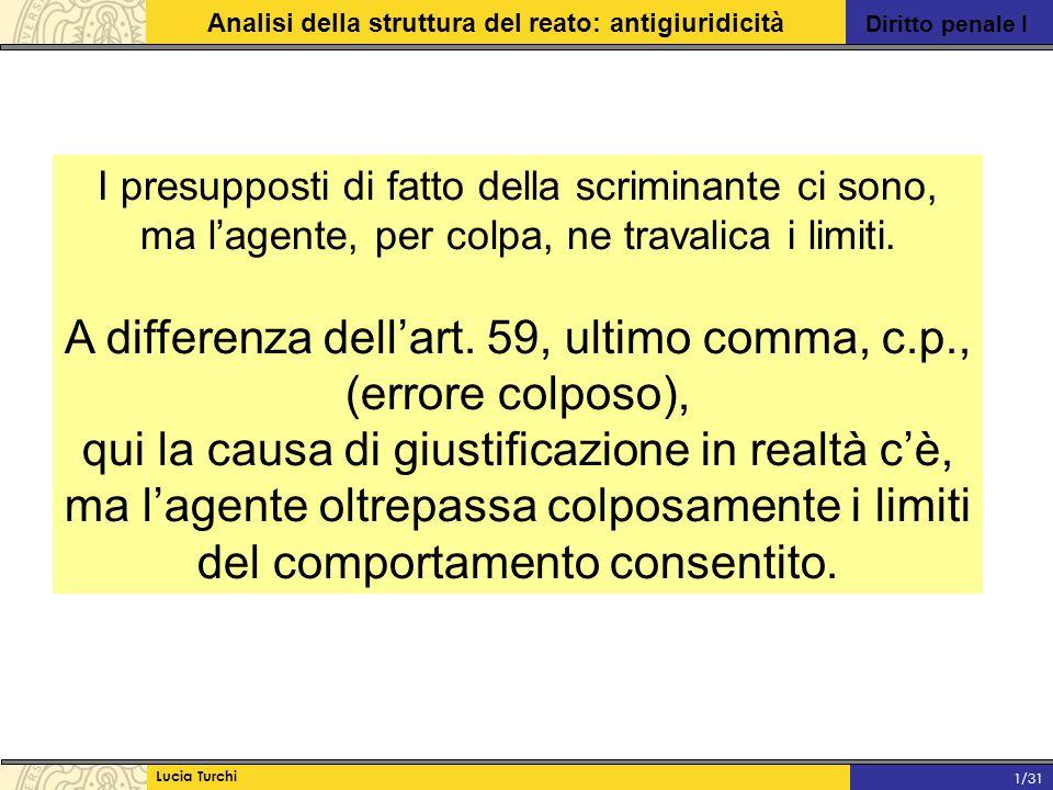 Diritto penale I Analisi della struttura del reato: antigiuridicità Lucia Turchi 1/31 I presupposti di fatto della scriminante ci sono, ma l'agente, p