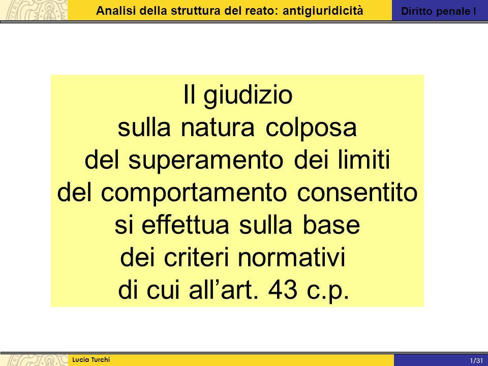 Diritto penale I Analisi della struttura del reato: antigiuridicità Lucia Turchi 1/31 Il giudizio sulla natura colposa del superamento dei limiti del