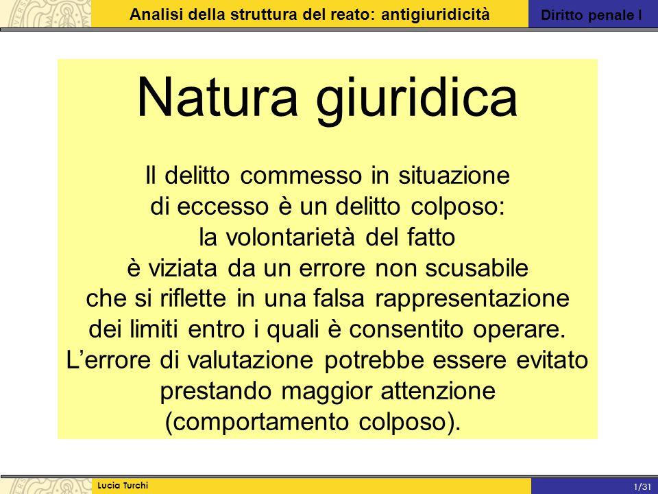 Diritto penale I Analisi della struttura del reato: antigiuridicità Lucia Turchi 1/31 Natura giuridica Il delitto commesso in situazione di eccesso è