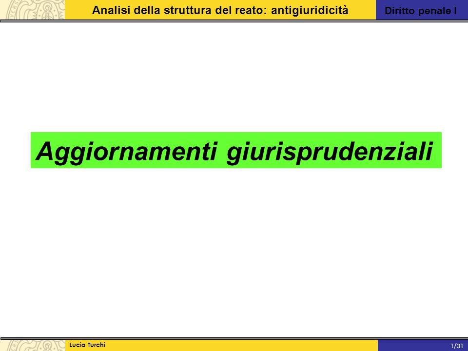 Diritto penale I Analisi della struttura del reato: antigiuridicità Lucia Turchi 1/31 Aggiornamenti giurisprudenziali