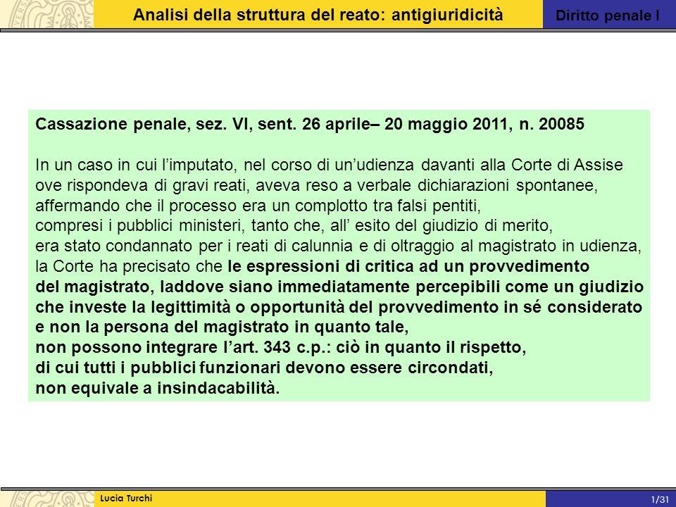 Diritto penale I Analisi della struttura del reato: antigiuridicità Lucia Turchi 1/31 Cassazione penale, sez. VI, sent. 26 aprile– 20 maggio 2011, n.