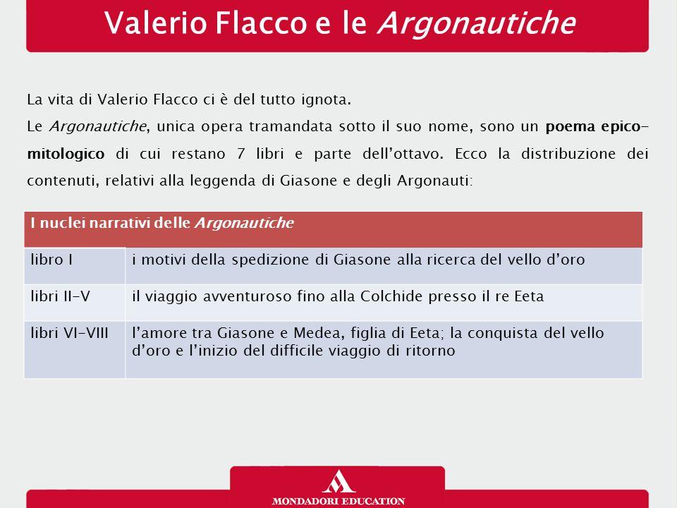 Valerio Flacco e le Argonautiche La vita di Valerio Flacco ci è del tutto ignota. Le Argonautiche, unica opera tramandata sotto il suo nome, sono un p