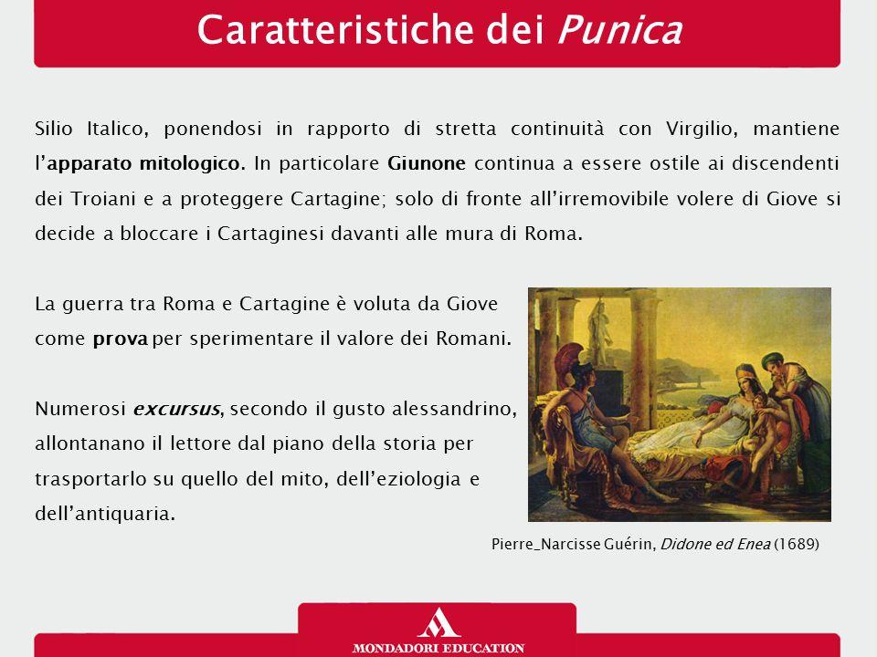 Caratteristiche dei Punica Silio Italico, ponendosi in rapporto di stretta continuità con Virgilio, mantiene l'apparato mitologico. In particolare Giu