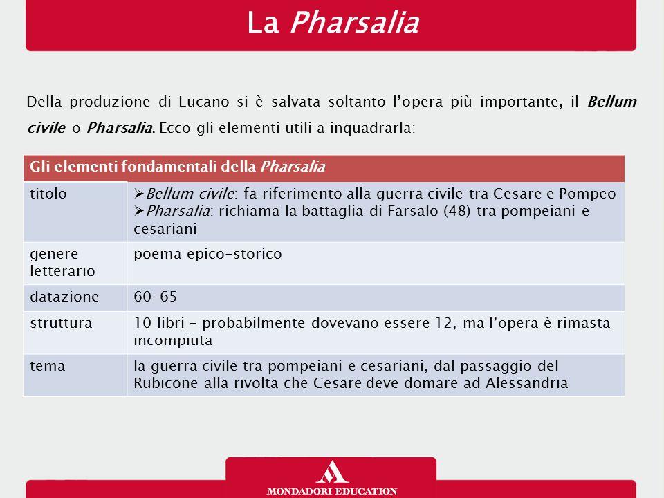 La Pharsalia Della produzione di Lucano si è salvata soltanto l'opera più importante, il Bellum civile o Pharsalia. Ecco gli elementi utili a inquadra