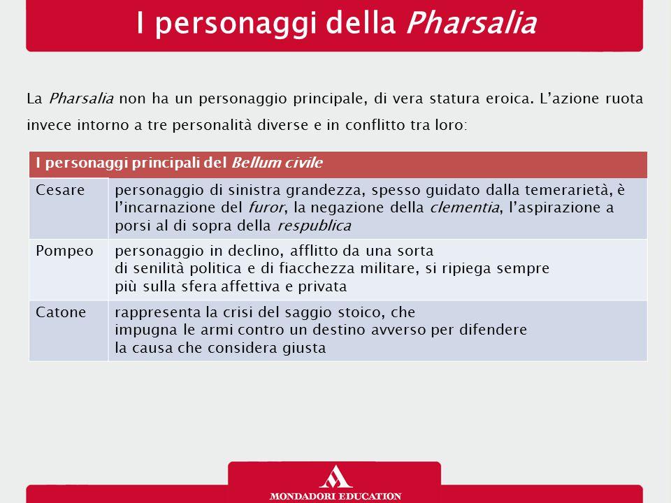 I personaggi della Pharsalia La Pharsalia non ha un personaggio principale, di vera statura eroica. L'azione ruota invece intorno a tre personalità di