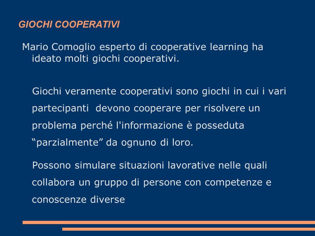 GIOCHI COOPERATIVI Mario Comoglio esperto di cooperative learning ha ideato molti giochi cooperativi.