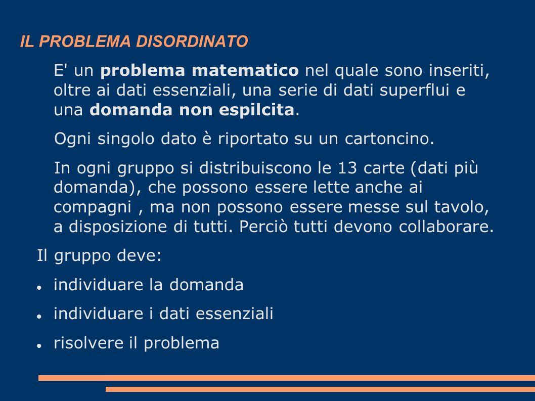 IL PROBLEMA DISORDINATO E un problema matematico nel quale sono inseriti, oltre ai dati essenziali, una serie di dati superflui e una domanda non espilcita.