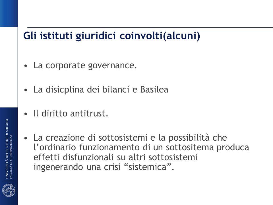 Gli istituti giuridici coinvolti(alcuni) La corporate governance.