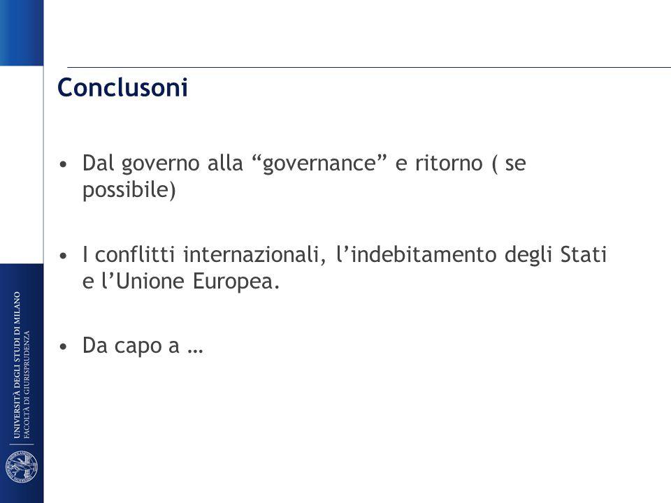 Conclusoni Dal governo alla governance e ritorno ( se possibile) I conflitti internazionali, l'indebitamento degli Stati e l'Unione Europea.