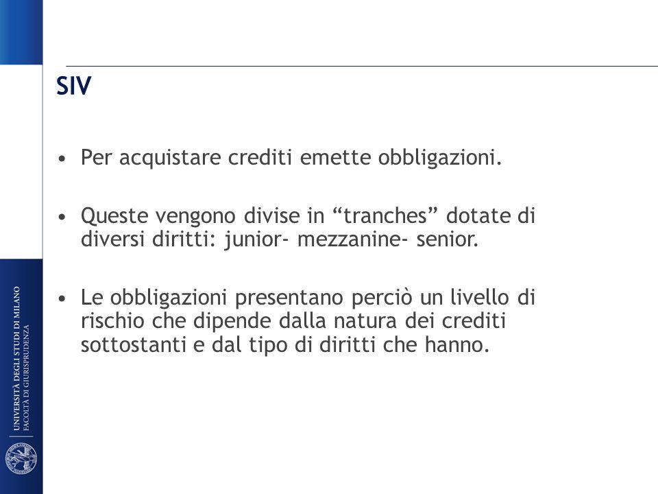SIV Per acquistare crediti emette obbligazioni.