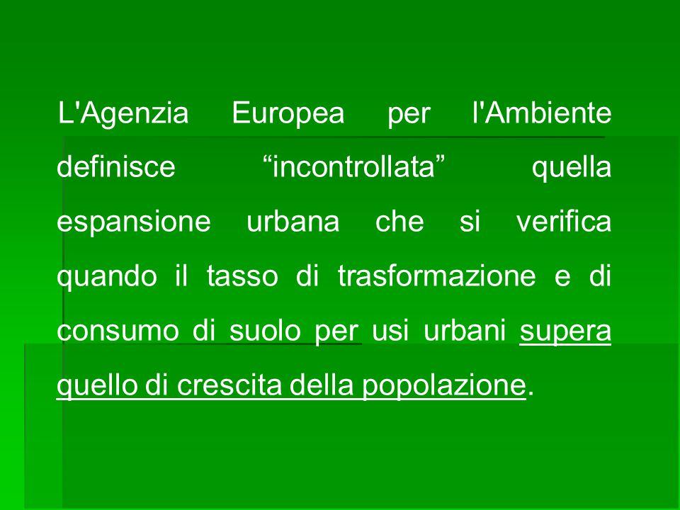 """L'Agenzia Europea per l'Ambiente definisce """"incontrollata"""" quella espansione urbana che si verifica quando il tasso di trasformazione e di consumo di"""