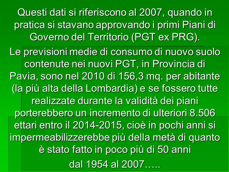 Questi dati si riferiscono al 2007, quando in pratica si stavano approvando i primi Piani di Governo del Territorio (PGT ex PRG). Le previsioni medie