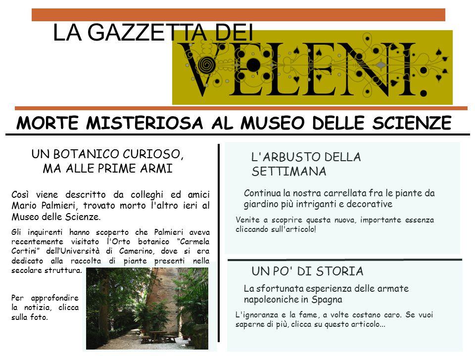 UN BOTANICO CURIOSO, MA ALLE PRIME ARMI Così viene descritto da colleghi ed amici Mario Palmieri, trovato morto l altro ieri al Museo delle Scienze.