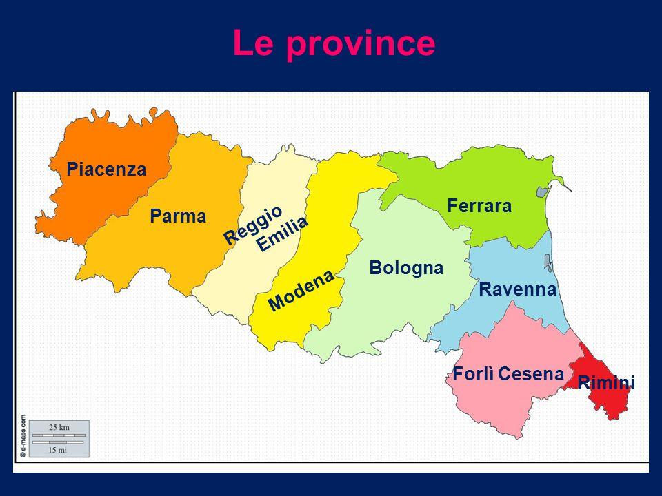 TERRITORIO All' interno dell' Emilia Romagna si possono distinguere due zone: una pianeggiante a nord che si estende dal fiume Po verso sud e raggiunge il litorale marittimo, una montuosa e collinosa a sud lungo il confine con la Liguria,Toscana e Marche.