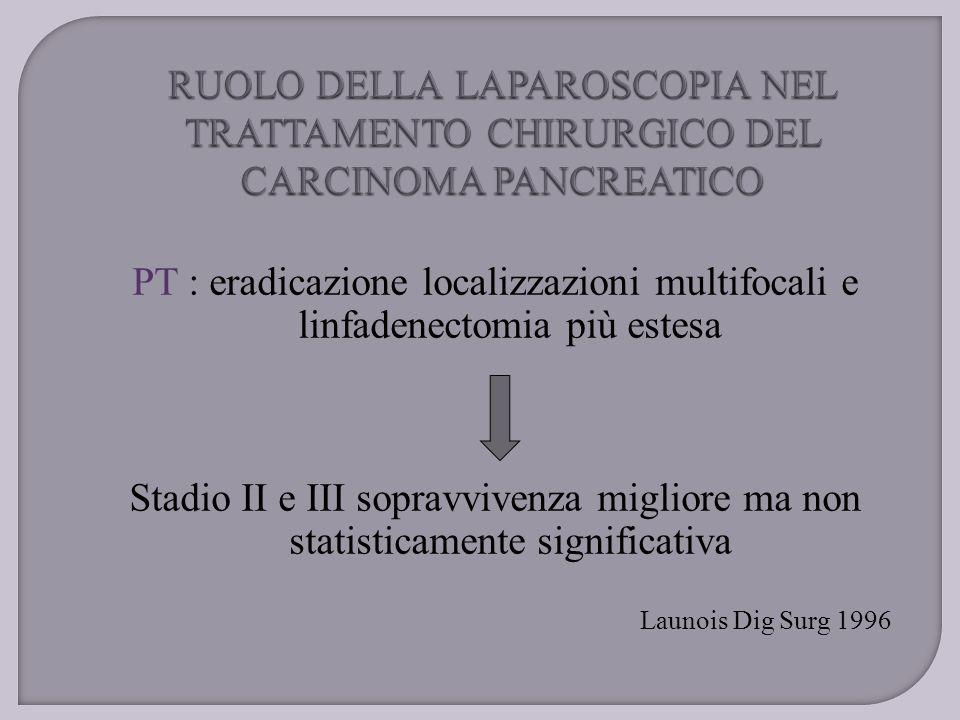 PT : eradicazione localizzazioni multifocali e linfadenectomia più estesa Stadio II e III sopravvivenza migliore ma non statisticamente significativa