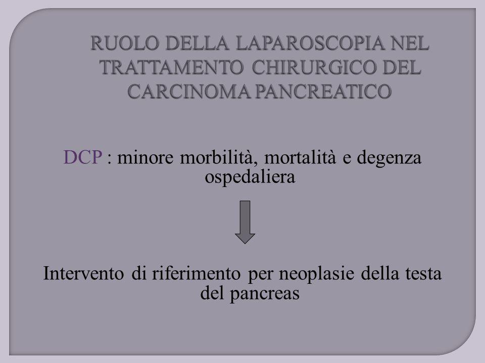 DCP : minore morbilità, mortalità e degenza ospedaliera Intervento di riferimento per neoplasie della testa del pancreas