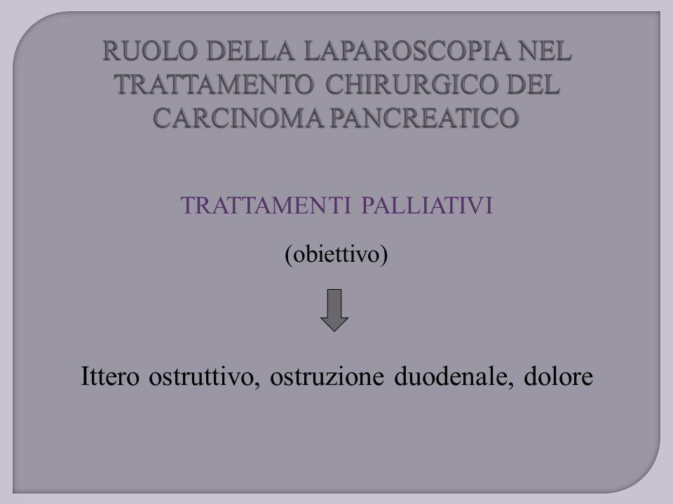 TRATTAMENTI PALLIATIVI (obiettivo) Ittero ostruttivo, ostruzione duodenale, dolore