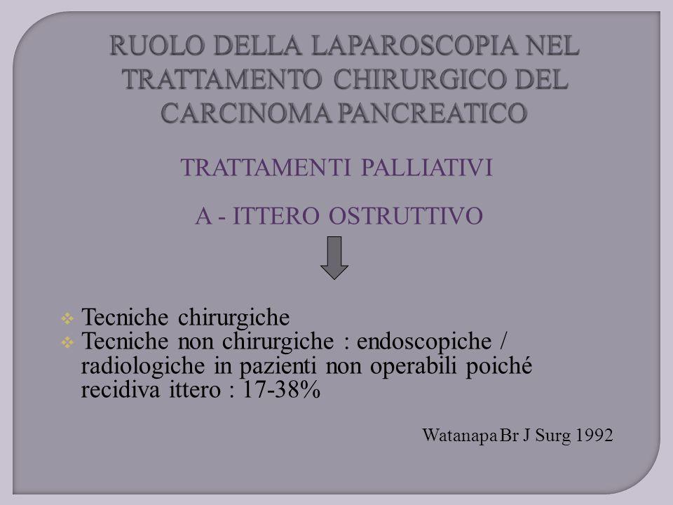 TRATTAMENTI PALLIATIVI A - ITTERO OSTRUTTIVO  Tecniche chirurgiche  Tecniche non chirurgiche : endoscopiche / radiologiche in pazienti non operabili