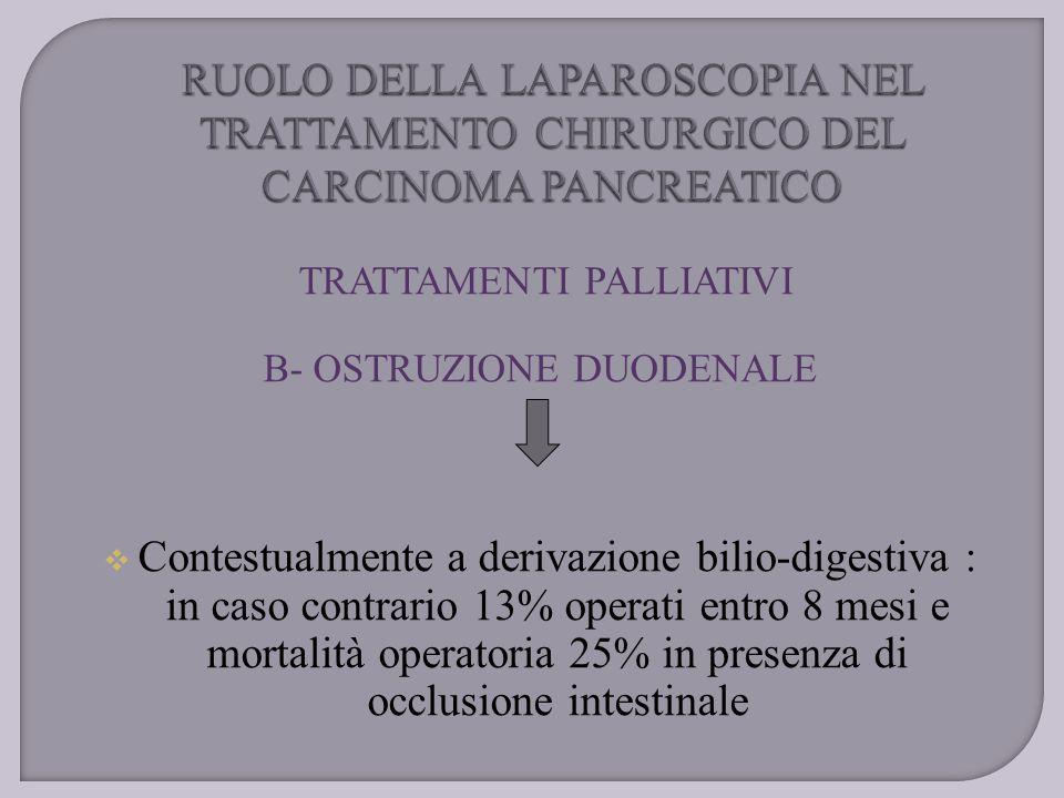 TRATTAMENTI PALLIATIVI B- OSTRUZIONE DUODENALE  Contestualmente a derivazione bilio-digestiva : in caso contrario 13% operati entro 8 mesi e mortalit
