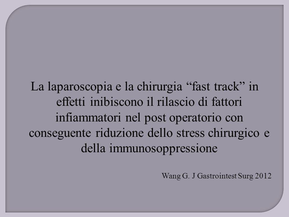 """La laparoscopia e la chirurgia """"fast track"""" in effetti inibiscono il rilascio di fattori infiammatori nel post operatorio con conseguente riduzione de"""