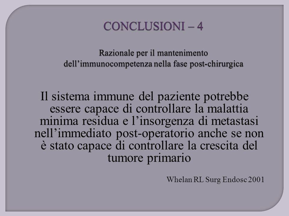 Il sistema immune del paziente potrebbe essere capace di controllare la malattia minima residua e l'insorgenza di metastasi nell'immediato post-operat