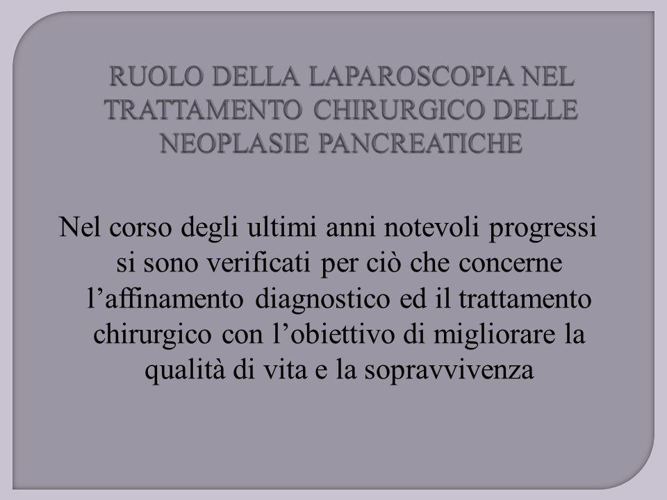 Elementi di valutazione basale per definizione della resecabilità  Assenza di metastasi epatiche e/o carcinosi peritoneale (eco, TAC, ERCP, PTC)  Infiltrazione vasi mesenterici (TAC, arteriografia) LAPAROSCOPIA ?