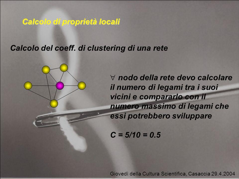 Giovedì della Cultura Scientifica, Casaccia 29.4.2004 Calcolo di proprietà locali Calcolo del coeff.