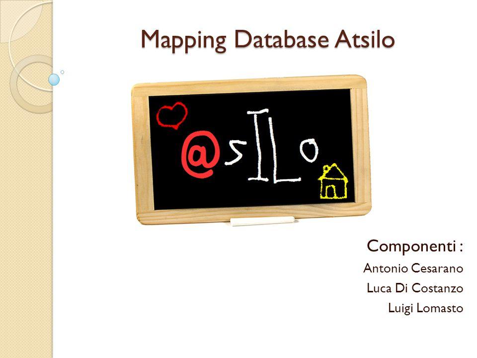 Mapping Database Atsilo Componenti : Antonio Cesarano Luca Di Costanzo Luigi Lomasto