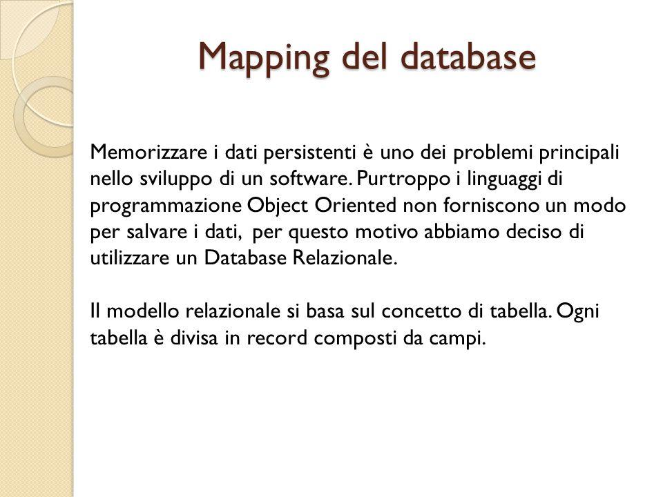 Mapping del database Memorizzare i dati persistenti è uno dei problemi principali nello sviluppo di un software.