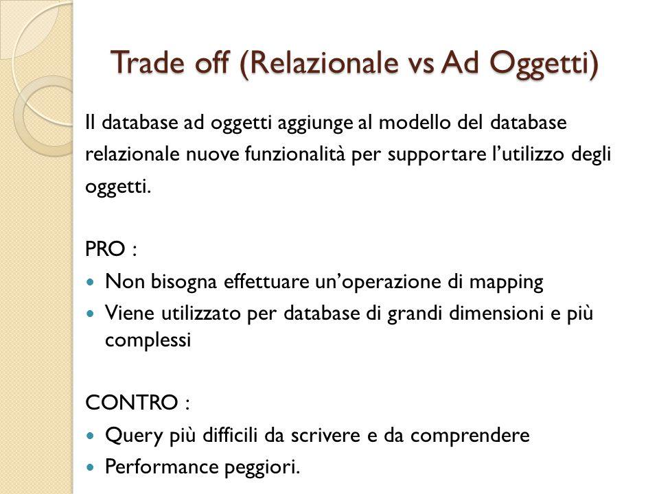 Trade off (Relazionale vs Ad Oggetti) Il database ad oggetti aggiunge al modello del database relazionale nuove funzionalità per supportare l'utilizzo degli oggetti.
