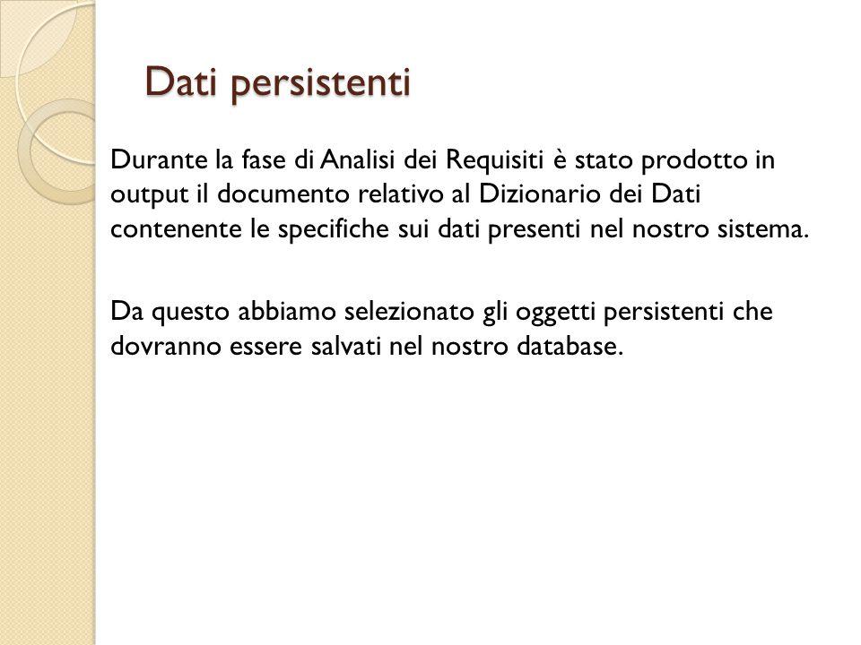 Dati persistenti Durante la fase di Analisi dei Requisiti è stato prodotto in output il documento relativo al Dizionario dei Dati contenente le specifiche sui dati presenti nel nostro sistema.