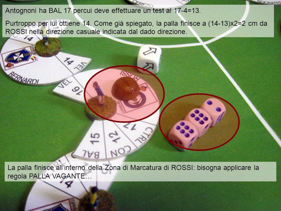 Antognoni ha BAL 17 percui deve effettuare un test al 17-4=13. Purtroppo per lui ottiene 14. Come già spiegato, la palla finisce a (14-13)x2=2 cm da R
