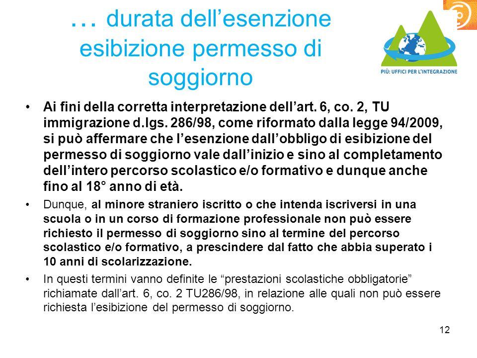 … durata dell'esenzione esibizione permesso di soggiorno Ai fini della corretta interpretazione dell'art. 6, co. 2, TU immigrazione d.lgs. 286/98, com