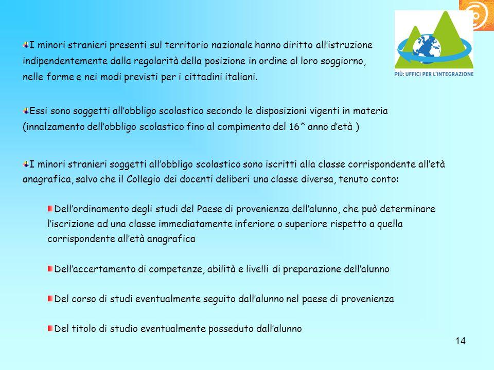 14 I minori stranieri presenti sul territorio nazionale hanno diritto all'istruzione indipendentemente dalla regolarità della posizione in ordine al l