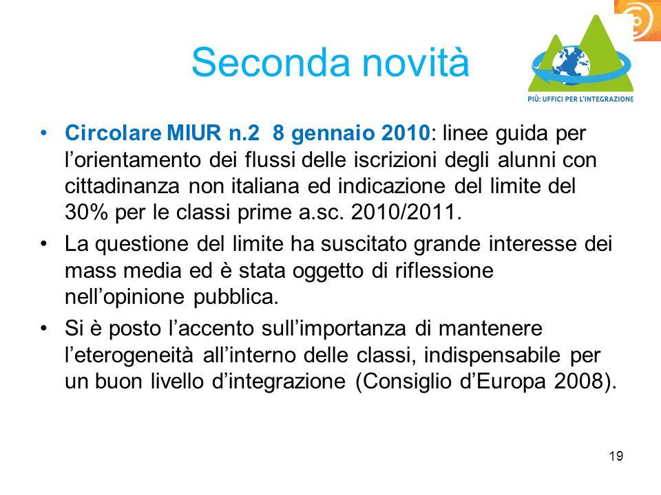 Seconda novità Circolare MIUR n.2 8 gennaio 2010: linee guida per l'orientamento dei flussi delle iscrizioni degli alunni con cittadinanza non italian