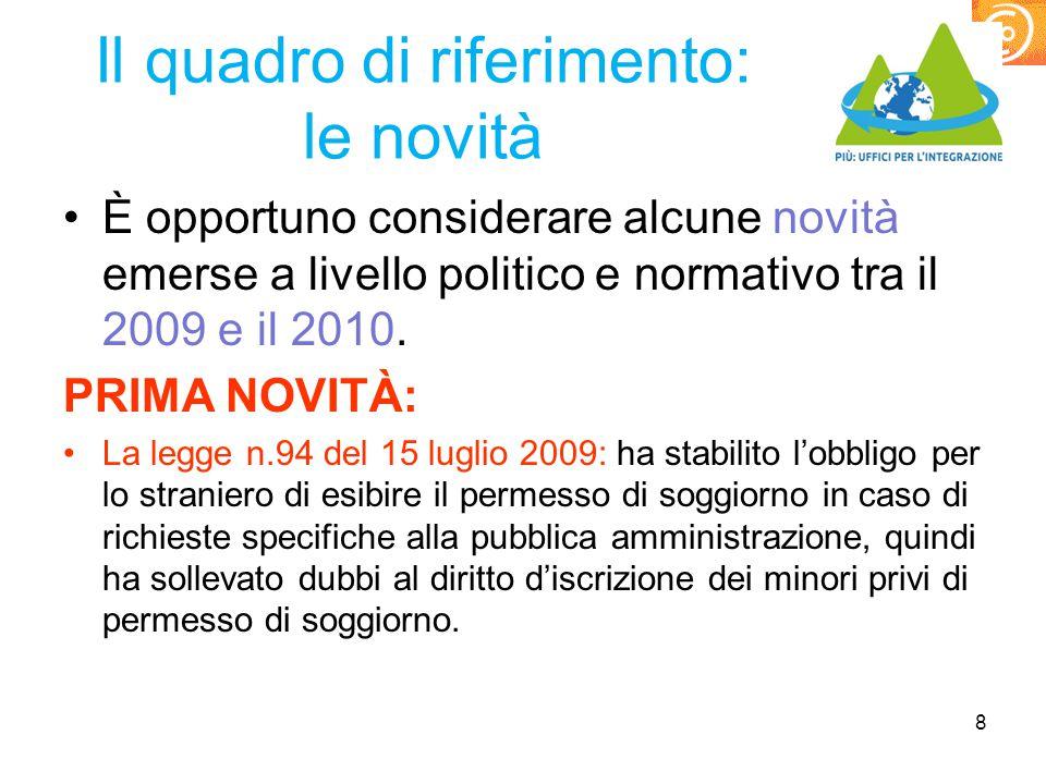 Seconda novità Circolare MIUR n.2 8 gennaio 2010: linee guida per l'orientamento dei flussi delle iscrizioni degli alunni con cittadinanza non italiana ed indicazione del limite del 30% per le classi prime a.sc.